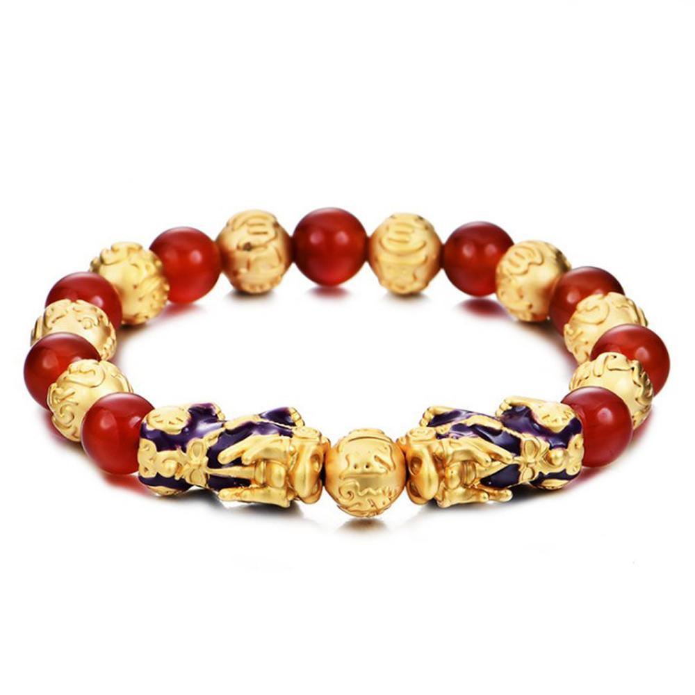 Feng Shui Genuine Red Onyx Duplo Bracelet Mulheres National Vento Mulheres Moda Temperatura Discoloratio Pixiu pulseira Y200730