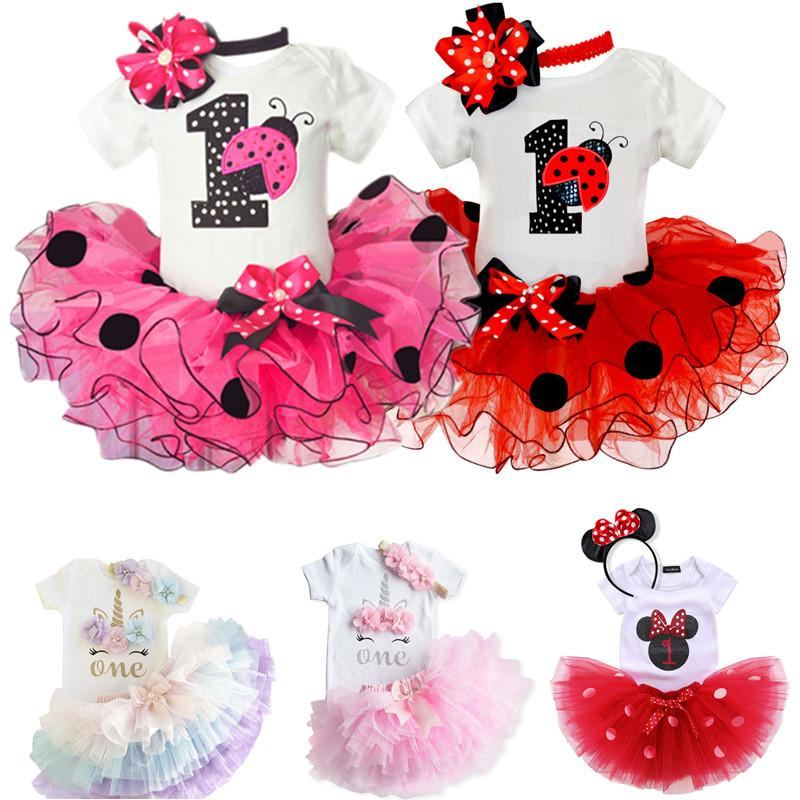 My Little Girl 1st Birthday Sets 1 Year Baby Clothes First Birthday Cake Smash Outfits Infant Christening Suits For 12 Months Y200803