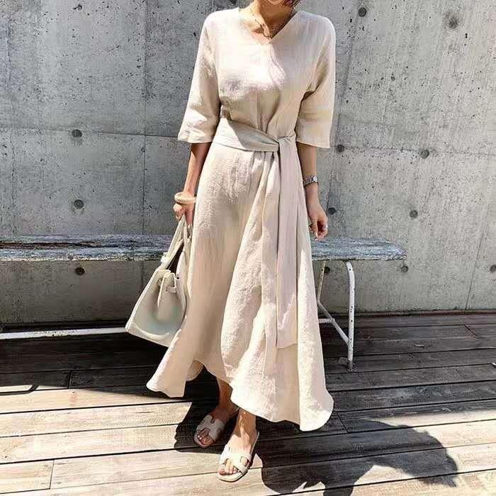 temperamento de verano y ropa de la cintura 2020 nuevo algodón de algodón y vestido de ropa con cordones falda delgada vestido de la mujer francesa G1Xrq Equipada falda