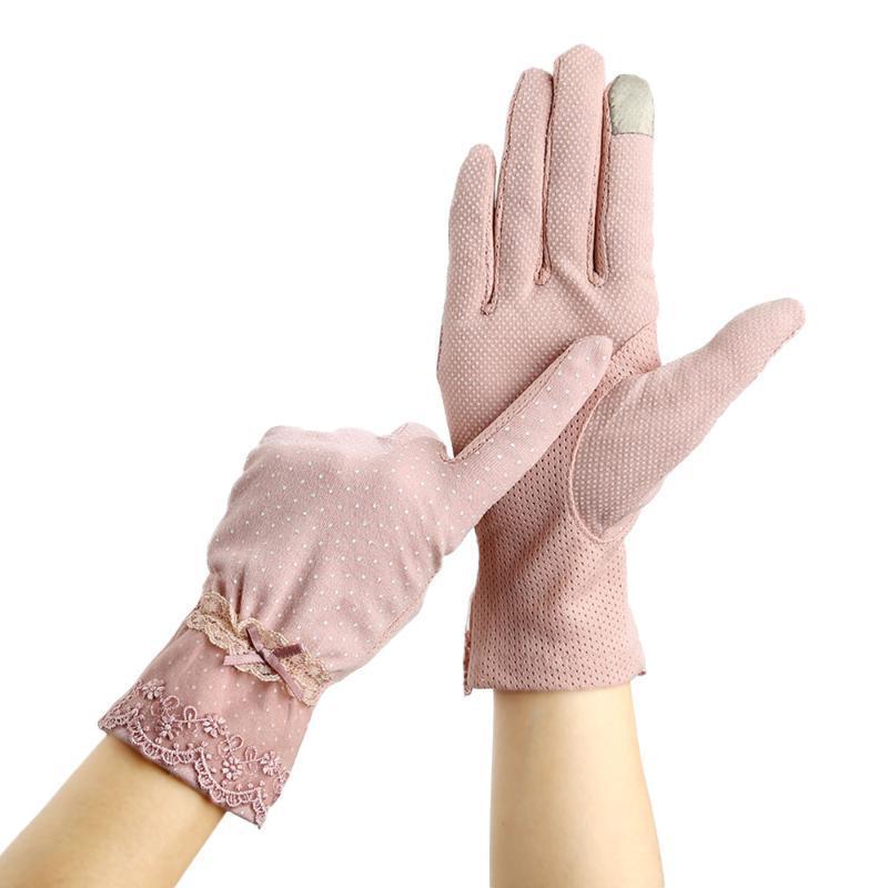 Frauen Sonnenschutz Stretch Handschuhe Sommer Sommer Lady Touch Screen Anti UV Rutschhemmende Fahrhandschuh atmungsaktiv Anti-Blockier-System Guantes