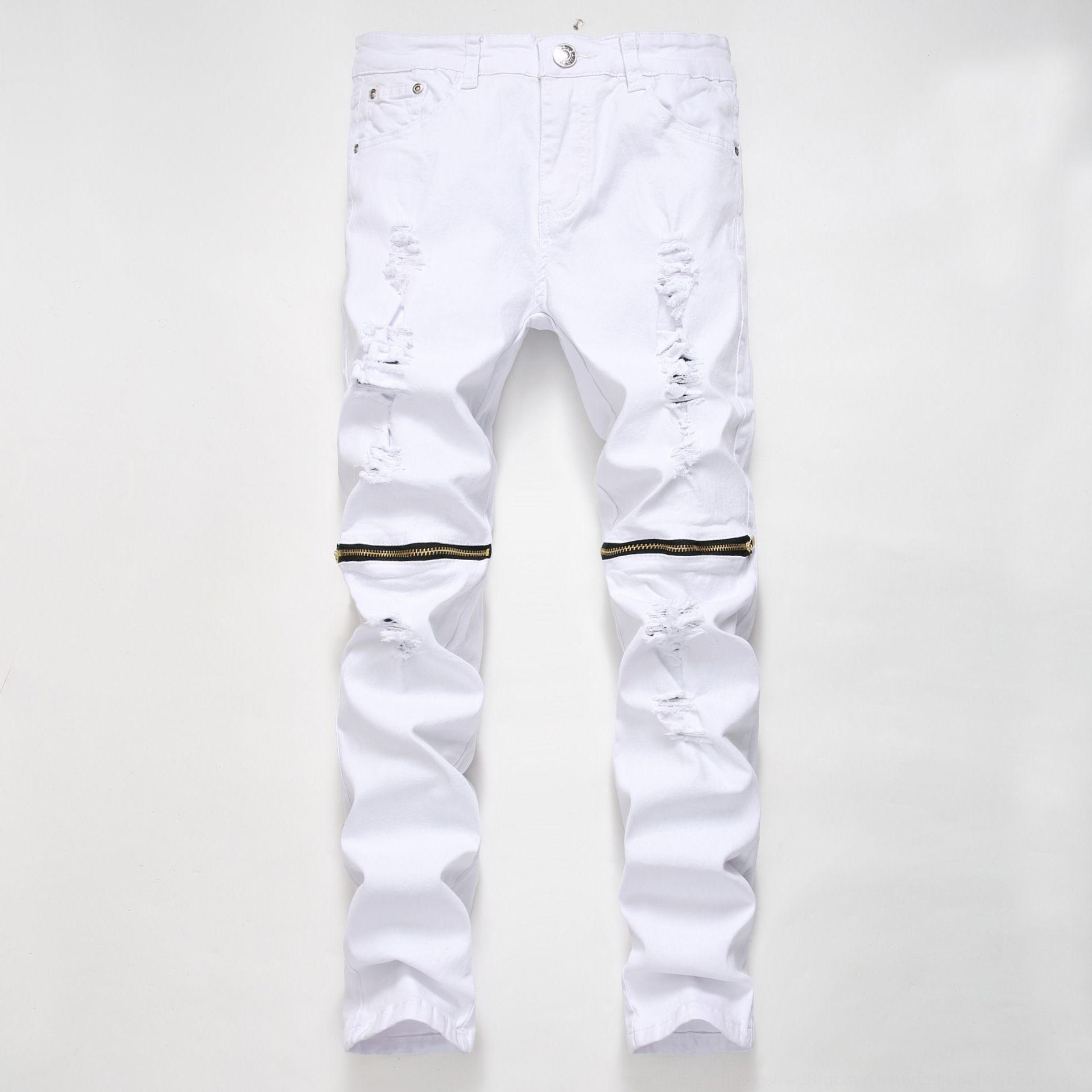 À la mode des pantalons et des hommes et des jeans fermeture éclair jeans blanc hommes pantalons haut étirement multi-glissière GN8KD