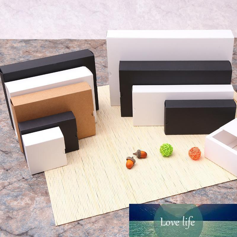 Kraft paper box black white paper drawer box for tea gift underwear biscuit packaging carton can be customized