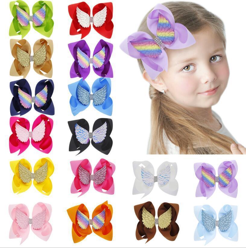 INS 16 cores menina Acessórios de cabelo cabelo arco cor de doces Handmade arco hairpin Com Angel Wing hairbands menina Barrettes