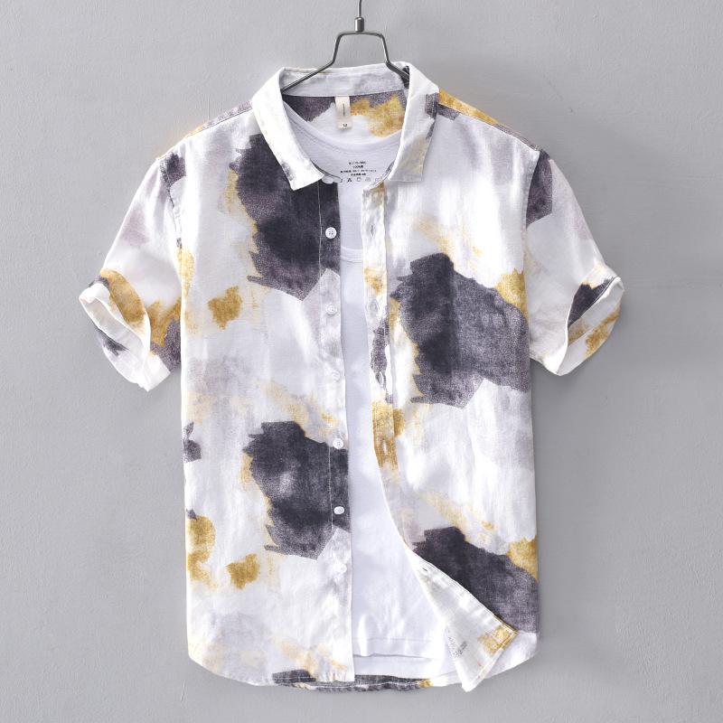 Camicie casual da uomo Casual 100% cotone Mens Luxury Camouflage Stampato manica corta uomo Camisa Masculina Summer Slim Dress