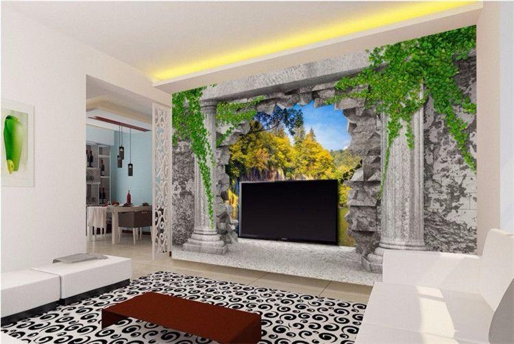 пользовательских обои Римской колонны стена отверстие водопад пейзаж 3D гостиной спальня ТВ фона Papel де Parede 3d
