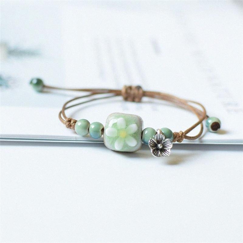 Designer Stone Flower Ceramic Charm Bracelet Estilo Criativo Nacional Handwork Casal Ornamento Moda Pulseira charme jóias H Bracele 3Q4q #