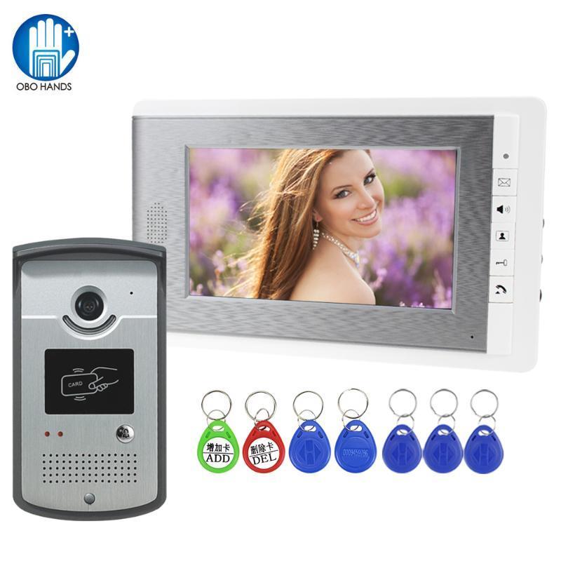 RFID de cable de vídeo de intercomunicación video teléfono de la puerta 7 '' monitor de color de timbre de la cámara a prueba de agua tarjeta de llaves de control de desbloqueo de Inicio Villa