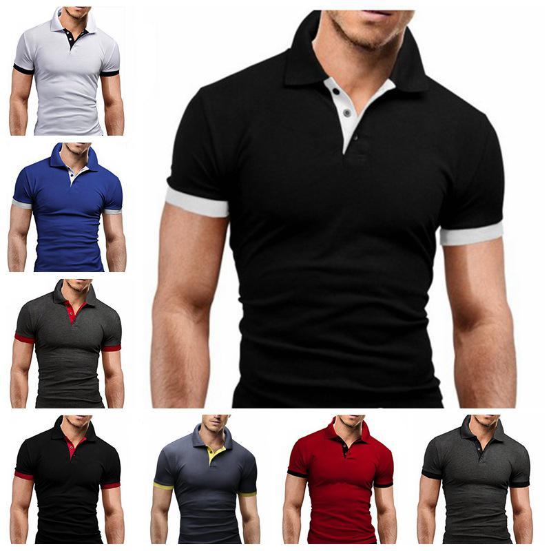 Мужские Tops Summer New Tee Shirt Slim Fit Мода коротким рукавом Стенд Воротник тройники Мужские рубашки Повседневная мужская одежда 2020