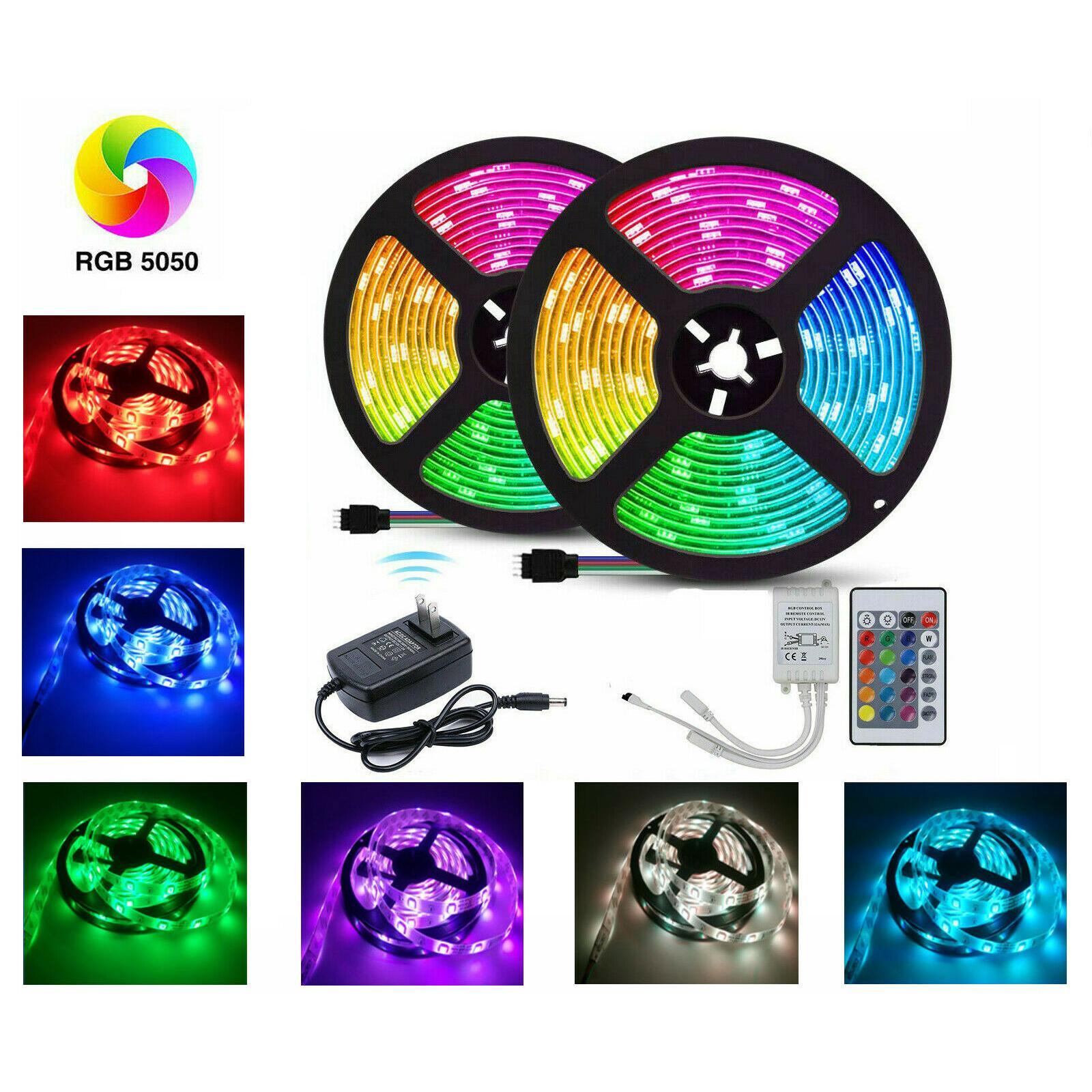 Nastro Striscia 10m LED Light String Impermeabile flessibile luce LED Ribbon 5050 lampade principali Con Power Plug controller