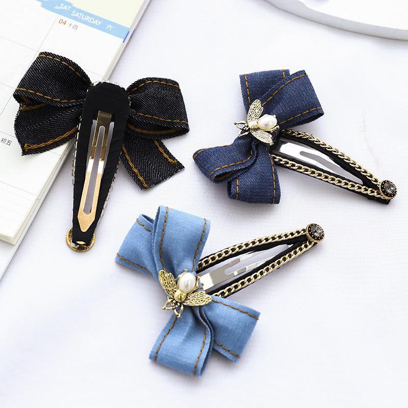 2020 Nova grampo de cabelo Moda Denim Bow atado Bronze Pérola Cocar Hairpin fora Feminino Cabelo Acessório Acessórios
