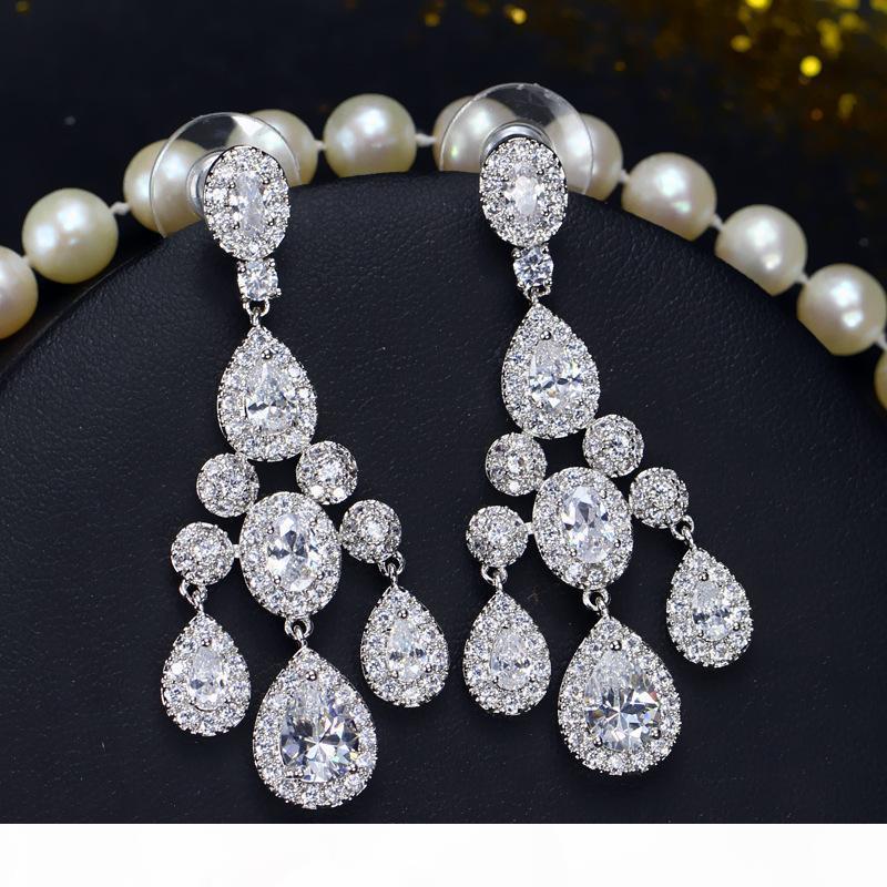 Elegant Bride Wedding orecchino d'oro bianco placcato Sparky orecchini cubico zircone di impostazione per le donne per la festa nuziale