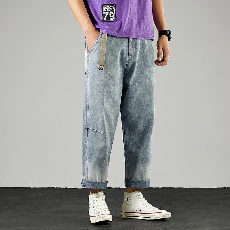 ins Q4tvr correspondentes calças da moda gradiente jeans reta dos homens lavados cor nan shi ku calças moda solta cec pai perna larga
