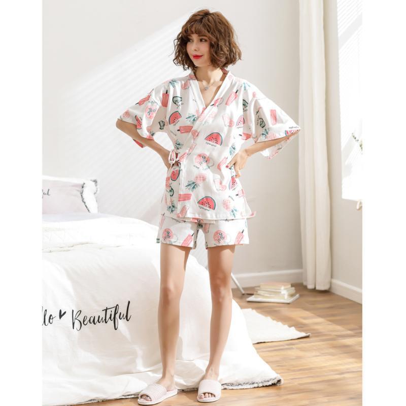 Kimono Pijama Takımı Yukata Kadınlar Yaz Pamuk Sevimli Karpuz Japon Kimono Hırka Ev Hizmet Suit Print Kısa kollu