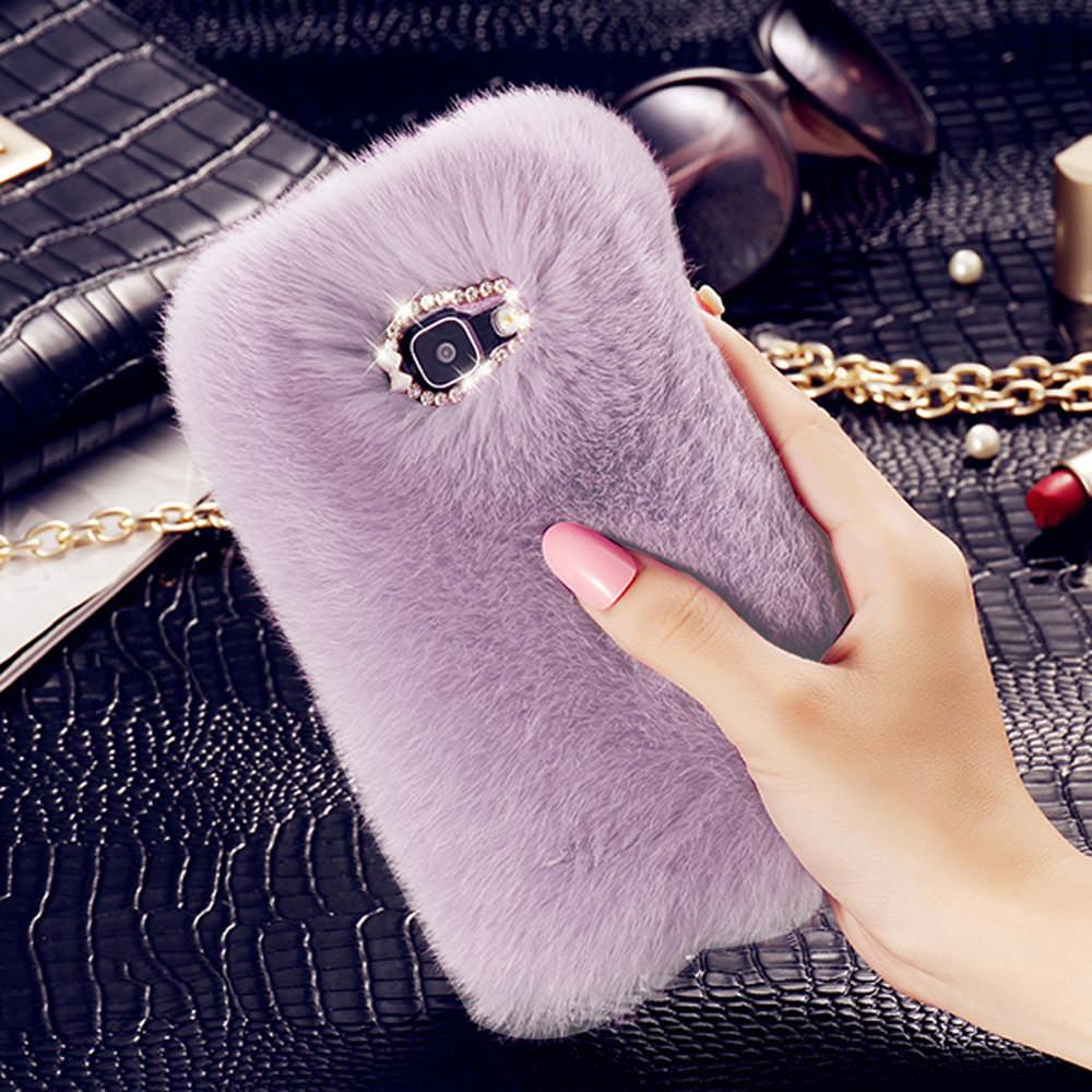 Fur Fluffy Phone Case For Samsung Galaxy S7 edge S10e S9 Plus Luxury Diamond Back Shell For Samsung S10 S8 Protective Cover