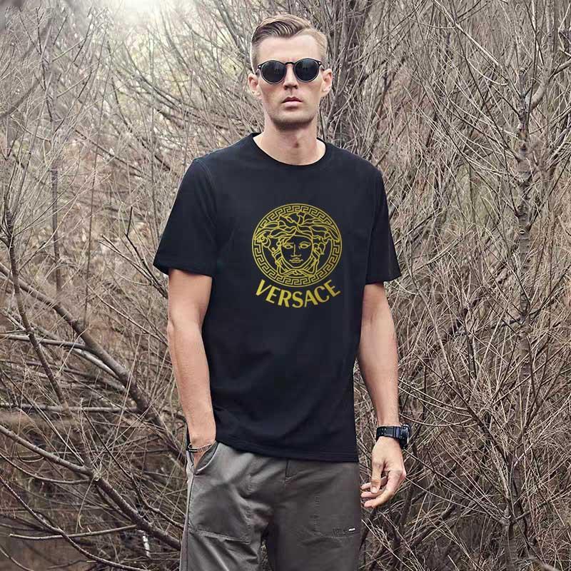 camisa dos homens Cotton Versace t gola redonda Sólidos homem 100% clássico camiseta de cor cobre T novo camisa de manga curta t casuais verão vintage