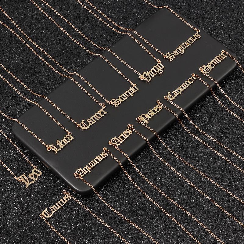 Lettre Vintage Zodiac Colliers Femmes Personnalisé 12 Constellation signe pendentif chaînes d'or Choker Bijoux Fashion cadeau