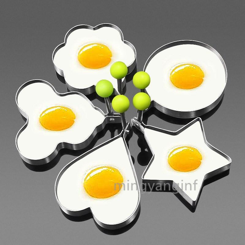 Anneaux d'oeufs frits moule anti-adhésif pour Griddle Pan Egg Shaper Pancake Maker avec poignée en acier inoxydable forme d'oeuf pour Frire cuisson H-0147