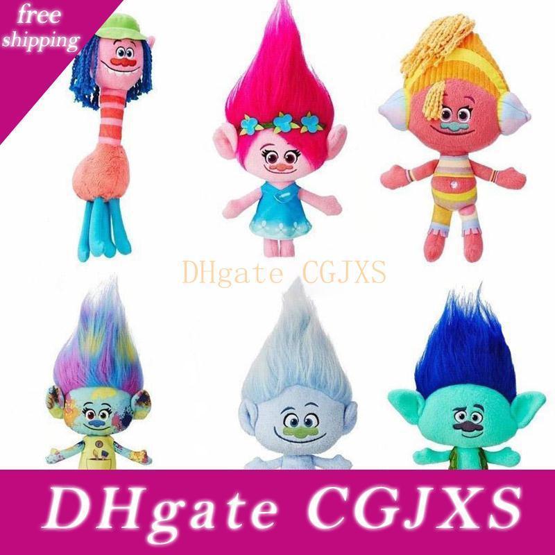 Neue Neuheit 6pcs / Lot 23 -30cm Filme Karikatur-Plüsch-Puppe Mohn Ast Troll Stofftier für Babys beste Geschenke für Kinder Spielzeug
