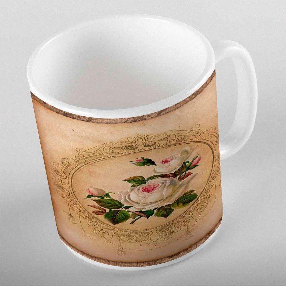 Planta demás Vintage Brown Rosa Blanco Rosas Crema de impresión en 3D regalo de cerámica Agua Potable oso taza de café de la taza Cocina KqjM #