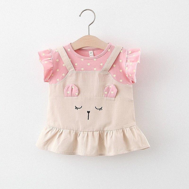 Baby-Kleid 2020 Sommer-Polk-Punkt-Färbung gefälschte zweiteilige netten Karikatur-Kleinkind-Kleid für 12M 18M 2T 3T jGCP #