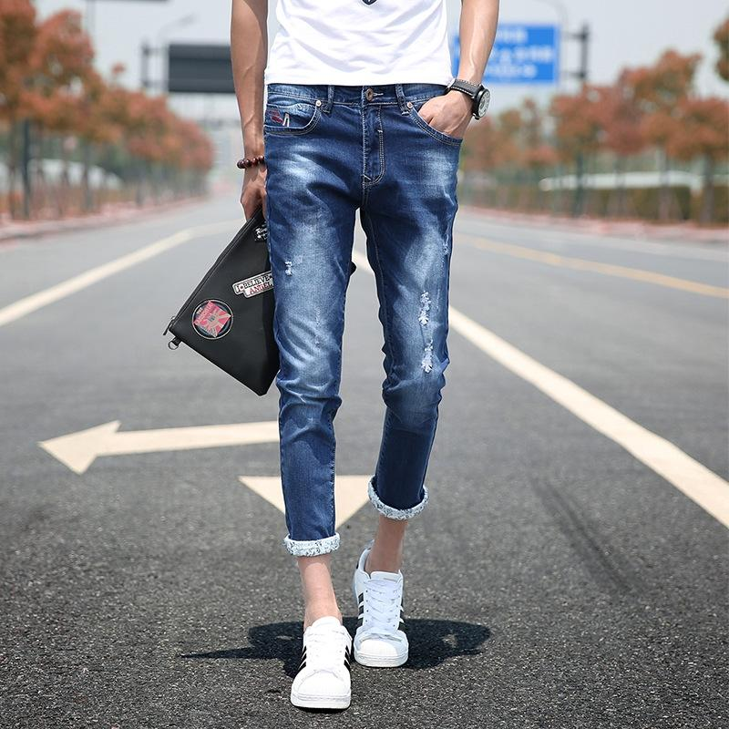 harém nono apertado i2ASs HXelj primavera e no verão fina Nove Jeans perfurou nove cortada tornozelo de comprimento calças skinny britânicos magro pan cortada