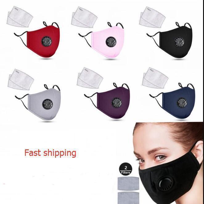 Qualität Art und Weise Baumwolle Gesicht DHL Unisex Masken Atemventil PM2.5 Mund Anti-Staub wiederverwendbare Stoffmaske mit zwei Filtern inside1