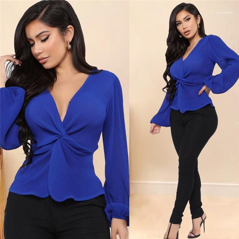 لون الملابس السيدات القوس طويل فانوس كم تي شيرت مصمم النساء سليم V الرقبة المحملات أزياء الأزرق النقي