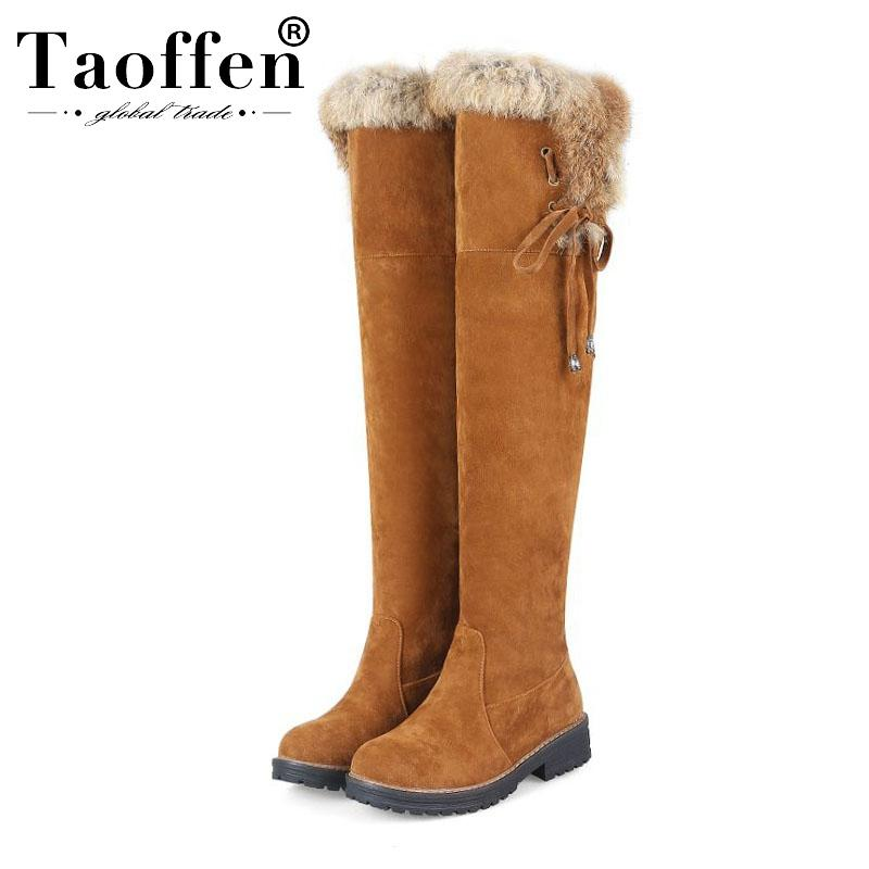 Taoffen 2020 nueva mujer caliente de la venta caliente de la felpa de piel sobre la rodilla zapatos botas Cruz Correa invierno Pisos Botas Mujeres Calzado Tamaño 34-44