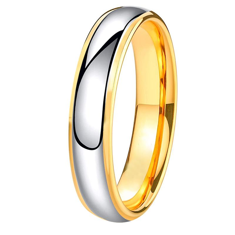 6mm Gold Rings for Women Polished Shiny Tungsten Wedding Band Engraving Customize Comfort Fit