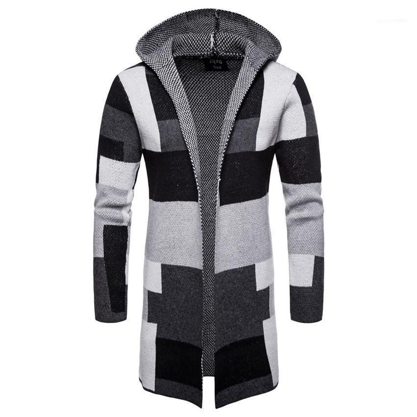 Allentato Casual Male Outerwears Plaid lungo Mens Coats Patchwork Colore cardigan con cappuccio Mens Miscele di maglia a strisce