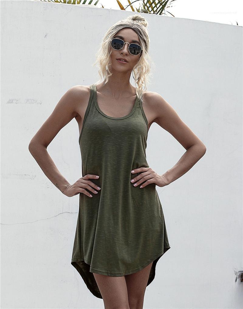 Kadın Patchwork Kolsuz Yaz Tank Günlük Elbiseler Kadınlar Katı Renk Mini U-boyun elbise Designer Kaşkorse Elbise
