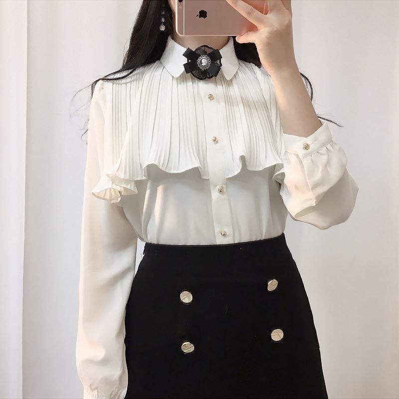 2020 новых оборки шифона блузки мода длинного рукава одежды женщины шифон рубашка элегантный женский шифон топы Y200828