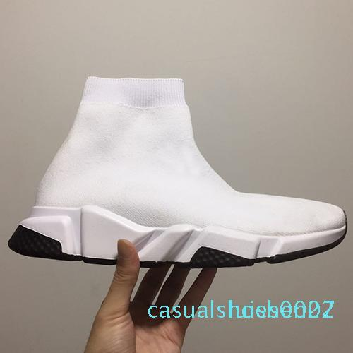Kutu C27 olmadan 2019 Paris Hız Eğitmenler Örme Çorap Ayakkabı Orjinal Lüks Tasarımcı Womens Sneakers Ucuz Yüksek Üst Kalite Günlük Ayakkabılar