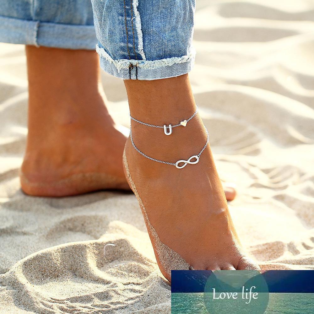 Gümüş Kalp Mektupları Halhallar Zincirler Kadınlar Bacak Bilezikler Seti Alfabe Halhallar Barefoot Ayak bileği Zincir Sandal Ayakkabı Yaz Ayak Zincirler Takı