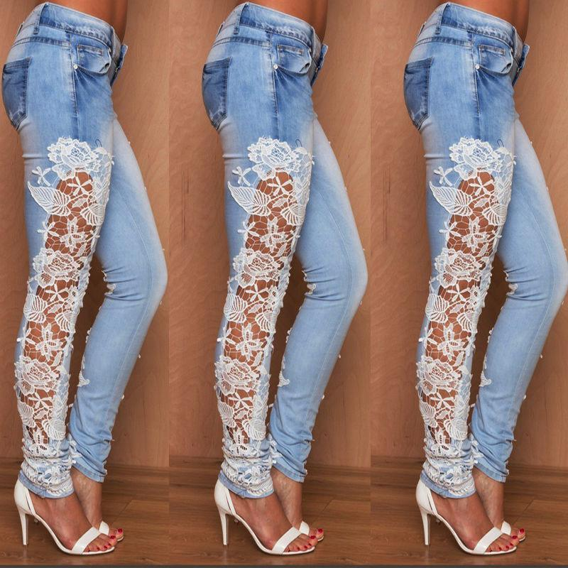 Women Stretch Lace Floral Side Spliced Denim Trousers Hollow Out Slim Pencil Pants Women Jeans Femme Pantalo CX200817
