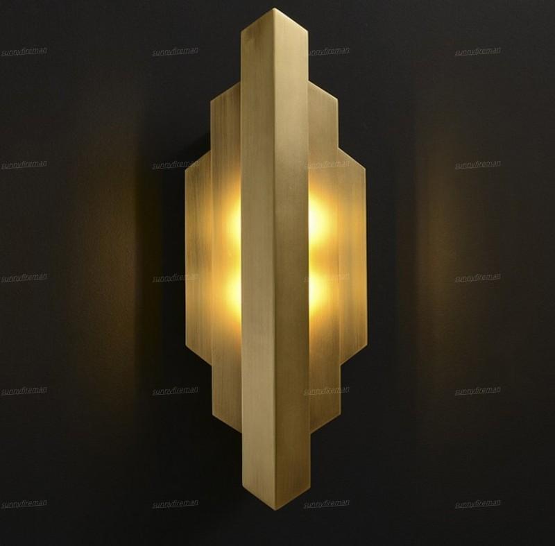 3 layers gold bedroom wall lights modern TV backdrop lamp copper hallway lighting AC110V 220V