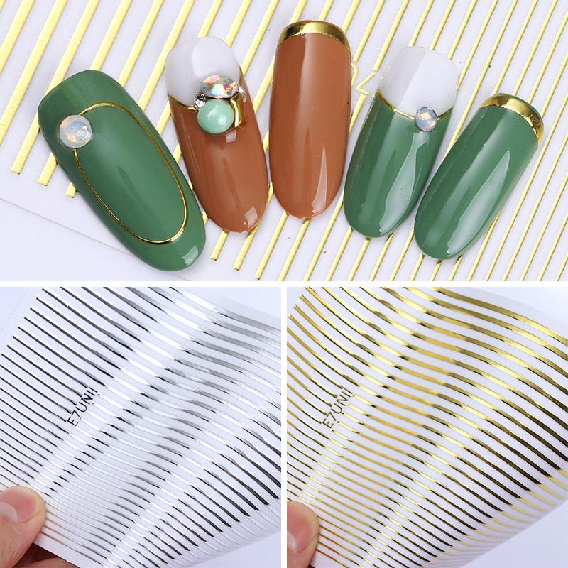 1 Ficha prego Gold Silver metal Stripes Lines Etiqueta 3D Multi-tamanho Adhesive Striping Tape Nail Art Decalques