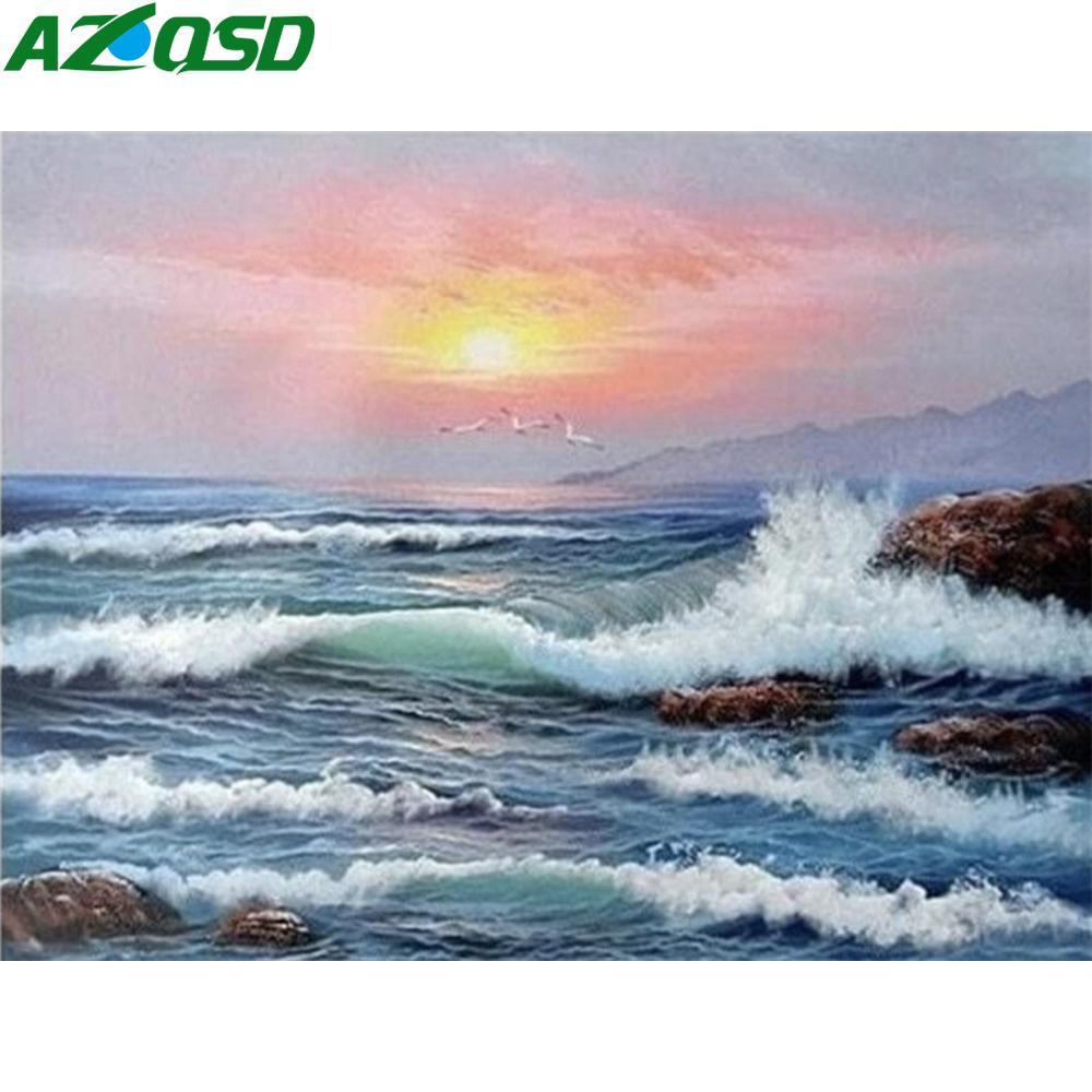 AZQSD adultos para colorear por números Mar unFrame DIY pintado a mano de la pintura al óleo del arte de la pintura del paisaje Números de regalo único
