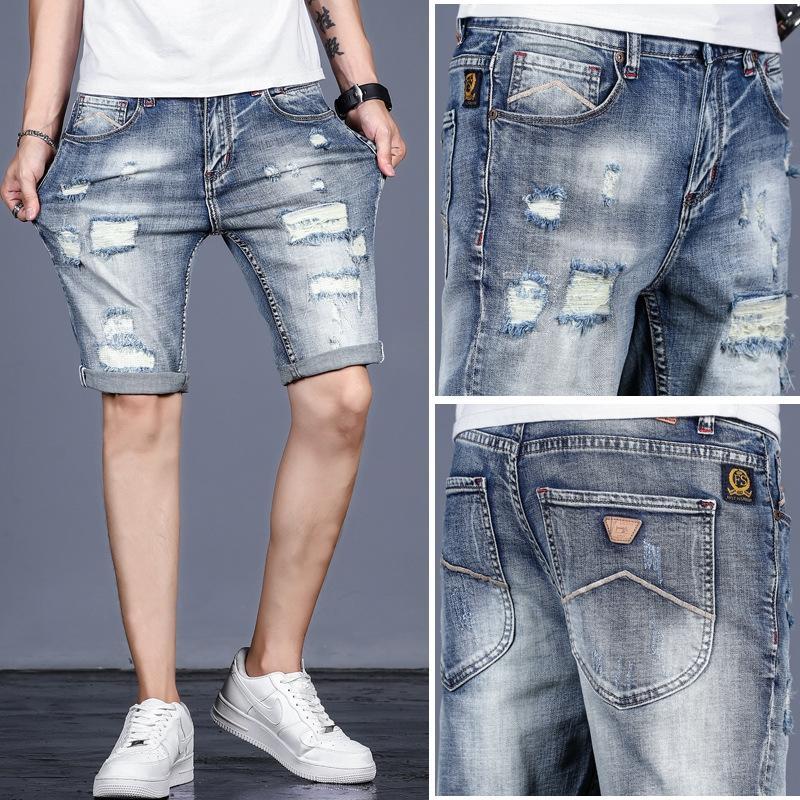cYZ7B stile coreano pantaloni logori degli uomini allentata alla moda e jeans e jeans da uomo estivi metà degli anni pantaloni i bicchierini