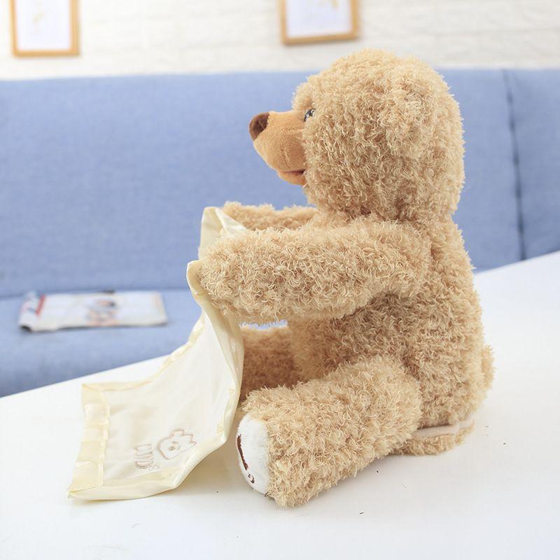 Teddy bear peekaboo bear shy hideaway red panda red panda electric plush teddy bear can talk and move 2