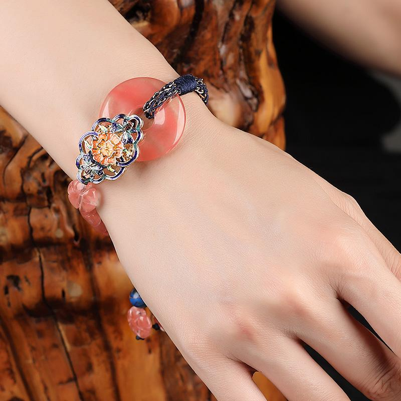 Chine perles en pierre naturelle de cristal ethnique Bracelet en pierre naturelle chinois beau cadeau de bijoux pour femme