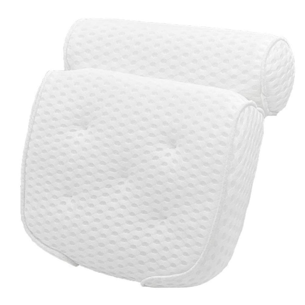 With 7 Suction Cups Bath Pillow Bathtub Spa Cushion Headrest Unisex 4D Air Mesh