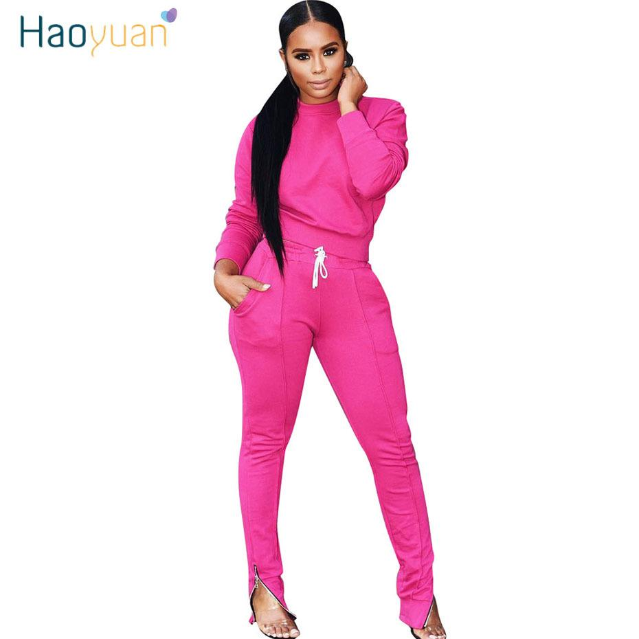 HAOYUAN Two Piece Set Tracksuit Fall Winter Clothes Long Sleeve Top and Pant Sweat Suits 2 Piece Outfits Fro Women Matching Sets T200812