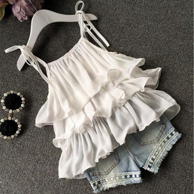 Sweet şık Bebek Çocuk Kız bebekler Şifon İnci Yelek Gömlek + Jean Şort Kıyafetler Giyim Seti rahat bebek setleri 24 Temmuz