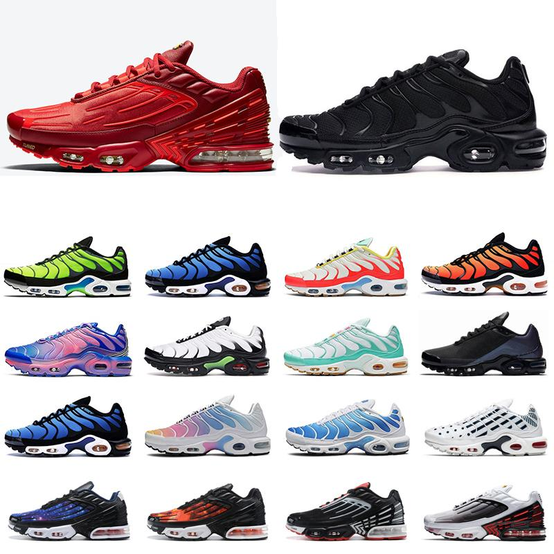 Hot mens tn plus se 3 III turned running shoes Triple white black Hyper Psychic blue Oreo womens men sports sneakers trainers 36-45
