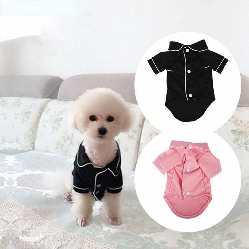 Camisa del animal doméstico ropa para perros de algodón francesa pijamas adecuados para pequeñas y medianas Gatos Botón 2 patas pijamas rosados mascotas Negro igz7 #