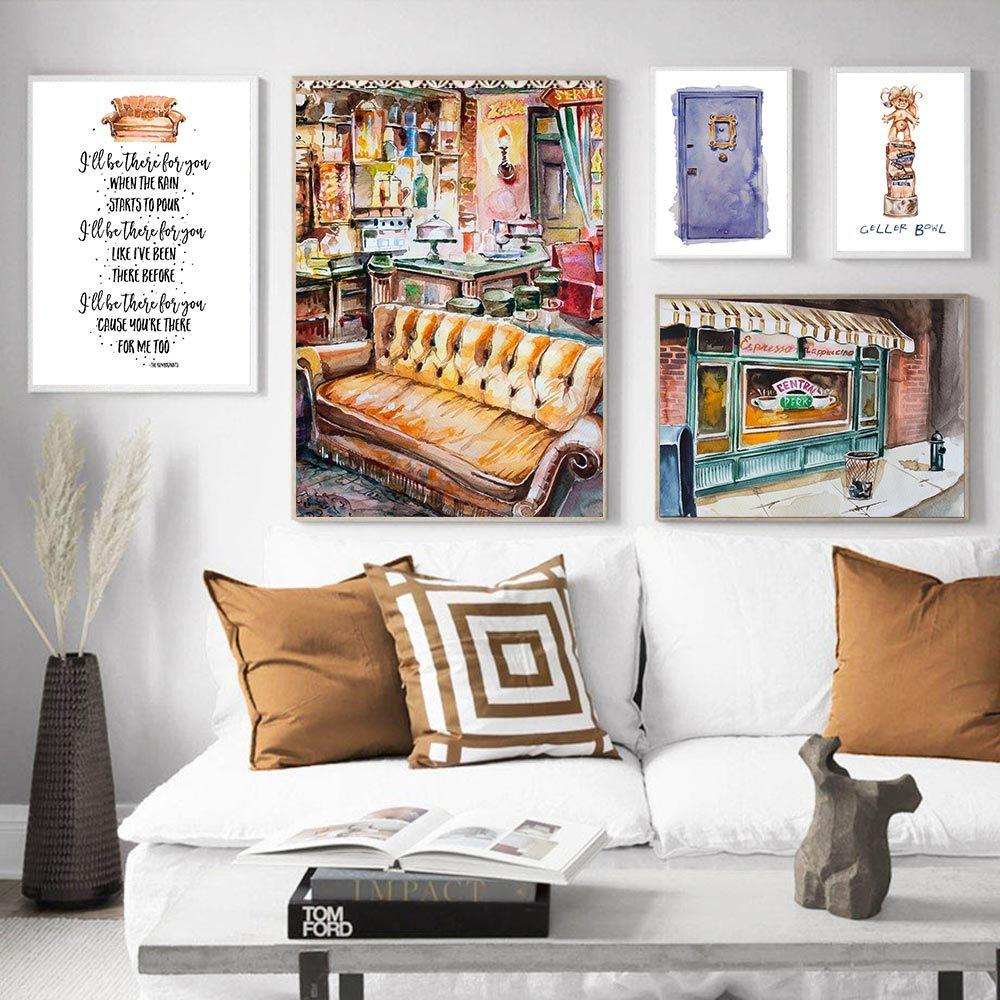 2020 Sitcom Central Perk Couch Painting Poster Friends Tv Show Decoration Print Funny Quotes Wall Art Decorative Picture Home Decor From Zuihangyuan1 3 39 Dhgate Com
