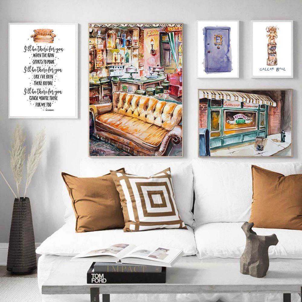 Sitcom Central Perk Couch Pintura Cartel Amigos de televisión de decoración para imprimir Citas divertidas del arte decorativo de la pared del hogar del cuadro de la decoración