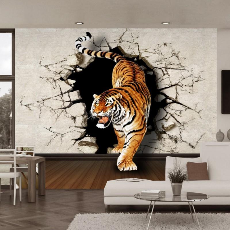Dropship Wallpaper 3D Stereo Tigers Wall Mural Backdrop Living Room Bedroom Lobby Wallpaper Custom Studio Mural