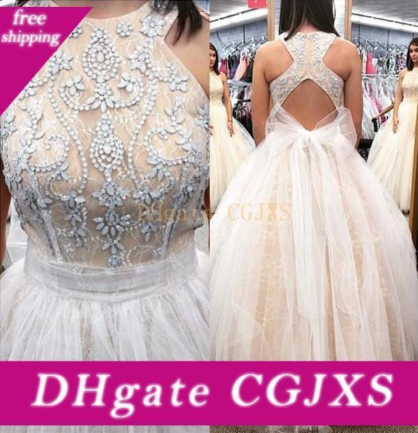Hot Sale Sexy Zipper Back Prom Dresses With Rhinestone Jewel Neck Sleeveless Evening Gowns Lace Tulle Long Formal Party Dress